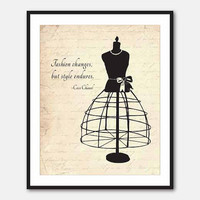 Fashion Art - Inspirational Print - Typgography - 8 x 10 print - Fashion changes, but style endures - Coco Chanel - vintage, French script