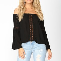 Elaina Off Shoulder Top - Black