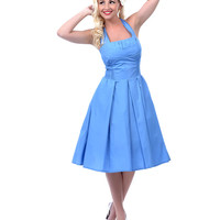 Unique Vintage Blue Flirty Cotton Swing Dress - Unique Vintage - Prom dresses, retro dresses, retro swimsuits.