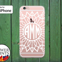 White Custom Monogram Fancy Pattern Cute Gift Tumblr Clear Rubber Phone Case for iPhone 5/5s and 5c and iPhone 6 and 6 Plus + and iPhone 6s