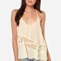 RVCA Arrowic Cream Lace Tank Top