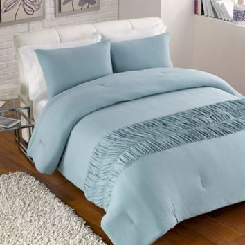 Jersey Rouched Comforter Set in Turquoise