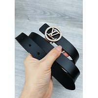 LV new women's ring diamond letter retro smooth buckle belt Black