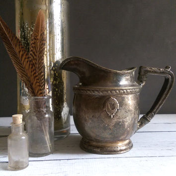 Antique Pewter Pitcher/ Pewter Pitcher/ Antique tarnished pitcher/ French Pewter Pitcher