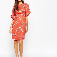 Closet Kimono Sleeve Midi Dress With Tie Back Detail And Split Front at asos.com