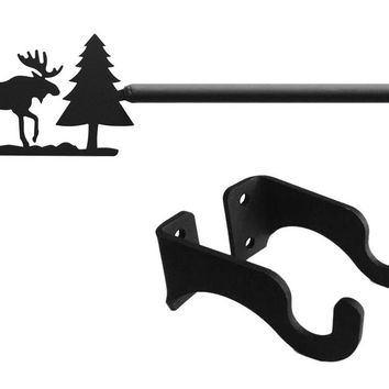 Wrought Iron Moose & Pine Curtain Rod