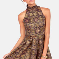 BB Dakota Barker Gold and Purple Brocade Dress