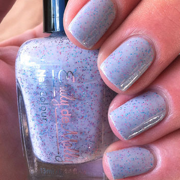 "Nail polish - ""Somber party"" blue, pink and purple glitter in a grey base"