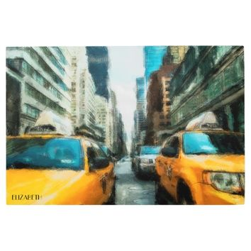 Yellow Taxi Cabs After Rain In New York City Metal Photo Print
