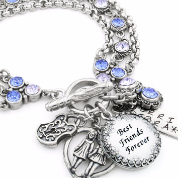 Personalized Best Friends Forever Charm Bracelet with Crystals