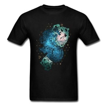Lasting Charm Space Diver Men Black T Shirt Astronaut Helmet Painting Male Sports T-shirt Shipping
