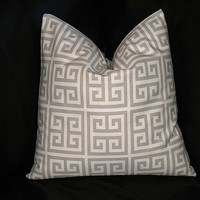 """Taupe Greek Key Pillow ONE 20 inch Throw Pillow COVER 20"""" Tan, Natural MODERN Geometric Decorator Pillow"""