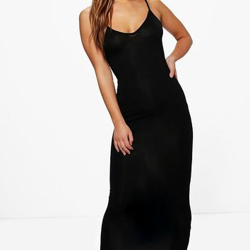 Petite Renee Strappy V Neck Jersey Maxi Dress | Boohoo