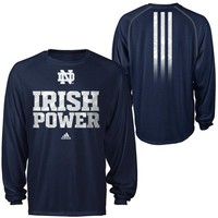 adidas Notre Dame Fighting Irish 2013 Sideline Power Performance ClimaLITE Long Sleeve T-Shirt - Navy Blue
