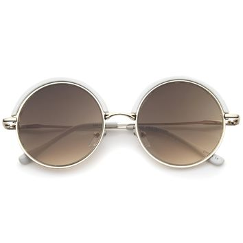 Women's Oversize Round Top Trim Flat Lens Sunglasses A506