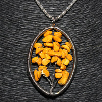 Silver Yellow Howlite Oval Shaped Tree of Life Pendant Necklace