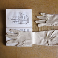 Vintage Opera Long Gloves, fabric gloves, beige, Soviet era (USSR), 60s