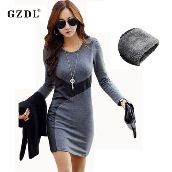 GZDL XS-XXL Women Autumn Winter Dresses Long Sleeve PU Leather Bodycon Pencil Party Cocktail Mini Dress Vestido De Festa CL2116