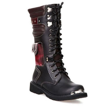 Combat Boots With Color Block and Metal Design