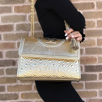 Tory Burch Fleming Large Convertible Shoulder Bag Crossbody Gold