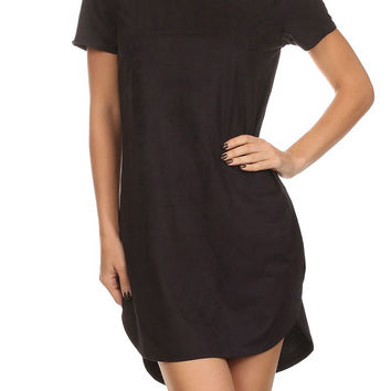 Faux Suede Tee Dress