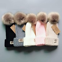 UGG Winter Knit Pom Beanie Hat with Removable Pom