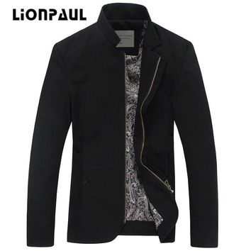 LIONPAUL New Arrival Standard Zipper Cotton Regular Spring And Autumn Brand Clothing Jacket Men Casual Coat Size 5XL Code 8709