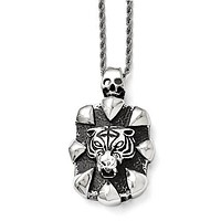 Stainless Steel Antiqued Skull And Tiger Necklace