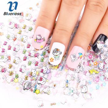 24 Manicure Designs Colorful Hello Kitty Nail Stickers, Nails DIY Beauty Decorations Tools For 3D Nail Art JH156 Nail Art Tools
