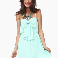 Bow Front Spaghetti Strap Chiffon Mini Dress