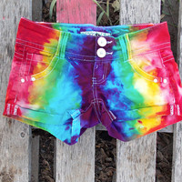 Bright Rainbow Dyed Cotton Shorts - Size 1
