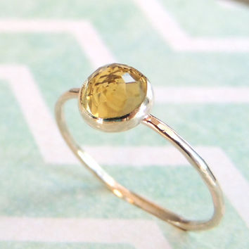 Lemon Quartz Ring, Gold Quartz Ring, Green Gemstone Ring, Lemon Quartz Jewelry, Lemon Ring, Skinny Stacking Ring, Midi Ring, Knuckle Ring