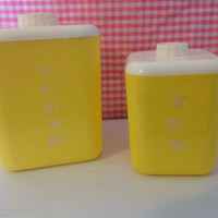Vintage Lustroware Canisters Plastic- Sugar- Tea- Bright Yellow Kitchen- Storage- Mid Century