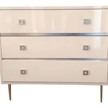 Worlds away Hudson white and silver leaf 3 drawer chest