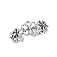 .925 Sterling Silver Filigree Flower Toe Ring