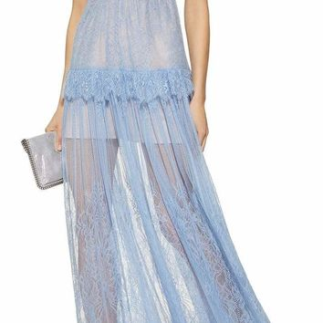 Off The Shoulder Blue Lace Maxi Dress