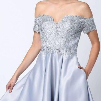 Embroidered Bodice Off-the-Shoulder Short Dress Silver With Pockets