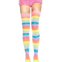 Neon Rainbow Thigh Highs (One Size,Multicolor)