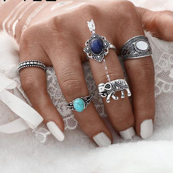5PCs/Set Vintage Artificial Stone Turkish Ring Sets Elephant Midi Ring for Women 2017 Fashion Antique Stone Men Rings  JM0510