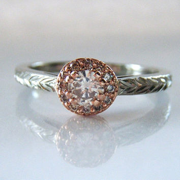 Champagne Diamond Halo Engagement Ring Rose and White Gold Hand Engraved