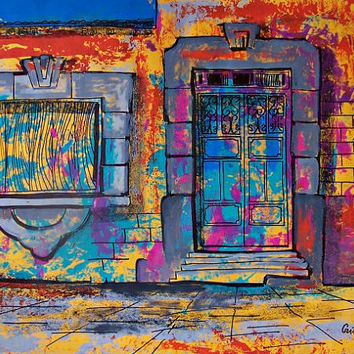 Original painting of colorful door and window view of street in Mexican town modern home decor kids room restaurant art