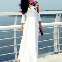 White Floral Print Sleeve Maxi Dress