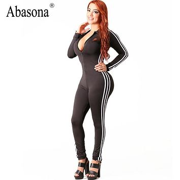 Abasona Winter zip up v neck bandage jumpsuits Striped side long sleeve skinny sportsuit Sexy night club rompers womens jumpsuit