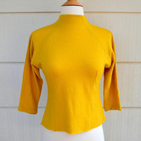 Vintage Wool Jersey Top, Mustard Yellow Worsted Wool Jersey 3/4 Sleeve Sweater, NOS, With Tags, Size 32, Mock Turtleneck, 1960s