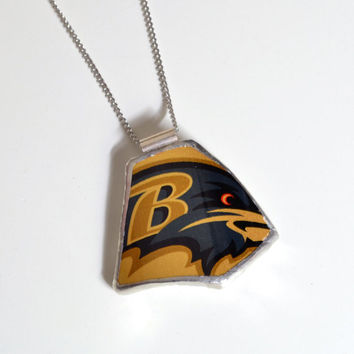 Broken Plate Pendant on Chain - Gold Ravens - Recycled China
