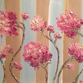 """""""French Roses on Striped Backgrounds"""", Original Oil Painting by artist Sarah Kadlic 24""""x20"""""""