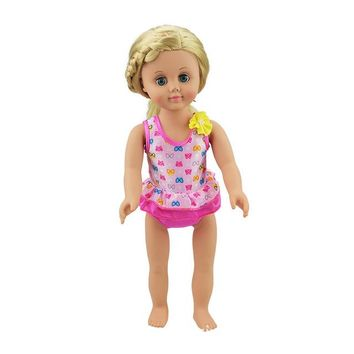 """Swimming Pool beach Hot Summer Set For 18"""" American Girl Doll Bikini Small butterfly swimming Suit Fit for 43cm Baby Born Doll ClothesSwimming Pool beach KO_14_1"""