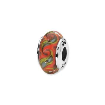 Red, Teal Swirl Hand-Blown Glass Bead & Sterling Silver Charm, 13mm