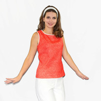 60s sleeveless top.  Vintage coral tank  by Sunny South  Fashions. Size medium top. White trim. Back to school. Mad Men fashion.
