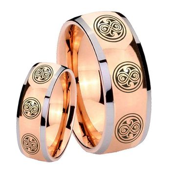His Hers Rose Gold Dome Multiple Doctor Who Two Tone Tungsten Wedding Rings Set